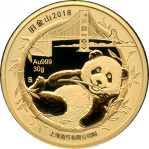2018 San Francisco Panda Gold 30g Proof,  Chinatown Dragon