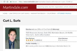 Attorney profile of Curt Surls on Martindale