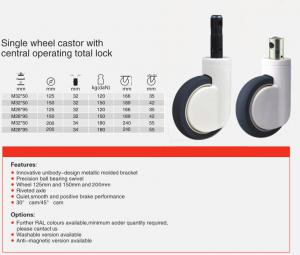 single wheel central locking casters