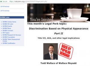 Event Discrimination based on Employee Appearance, Todd Wallace of Wallace Meyaski