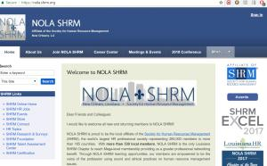 Website of NOLA SHRM where Mr. K. Todd Wallace gave his presentation