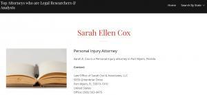 Attorney Profile Sarah E Cox on Solomonlawguild
