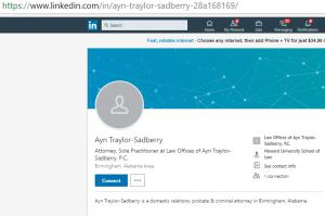 LinkedIn Profile of Attorney Ayn Traylor Sadberry