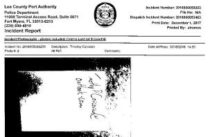Lee Port Authority Police Report -- PROOF OF PERSONAL EMAIL BECAUSE AGENT FEARFUL EHI WOULD DISCOVER HIS COMMUNICATION WITH VICTIM