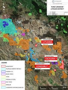Azincourt projects and nearby projects in the Puno District, Southeastern Peru