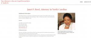 Attorney Janet Pittman Reed, North Carolina