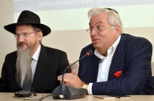 Aaron G. Frenkel and Rabbi Berel Lazar, credit Yossi Zeliger