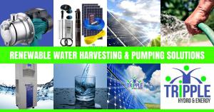 Water Harvesting Solutions; Renewable Pumping Systems; DC to AC Solar Pumps; Hybrid Solar Pumps; DAB Solar Pumps; LEO Solar Pumps; Grundfos Solar Pumps; Pumpman Solar Pumps;
