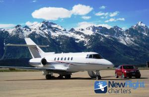 Charter Hawker Jet ready for departure from Jackson Hole Airport.