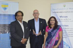 Dr Kaviraj Sharma SUKON, Director General (left), and Mrs Gopee, Registrar (right) from Open University with Prof. Pierre Brunswick (centre)