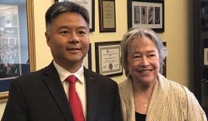 Kathy Bates with Representative Ted Lieu (D-CA)
