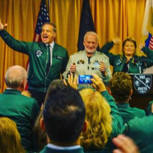 Celebrity Entrepreneur Clint Arthur sharing the stage with Apollo 11 astronaut Buzz Aldrin on the campus of West Point Military Academy
