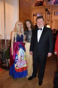 Pop Art artist Tanja Playner, Irmtraud Ludwig,  Mayor of the city of Vienna Michael Ludwig