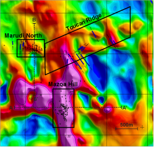 Apparent magnetic susceptibility map of Mazoa Hill, Marudi North occurrences and Toucan Ridge exploration area showing drill hole collars and surface trench location. Magnetic susceptibility highs are shown in purple, red and yellow.