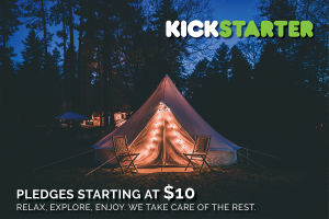Nightlife couldn't be more exclusive with a spacious luxury bell tent with outside lights - glamping for everyone.