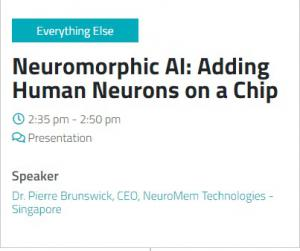 """Prof. Brunswick will present """"Neuromorphic AI: Adding Human Neurons On A Chip"""" at 2.35pm on 30 April"""