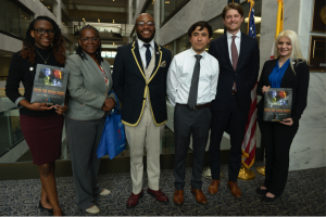 Joining other Youth for Human Rights advocates on Capitol Hill, Travis Ellis meets with U.S. Senate staff on human trafficking legislation.