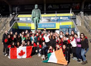 Picture of Strathcona High School Rugby Team visiting Croke Park on their Rugby Tour to Ireland