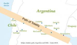 Ruta del Eclipse solar total en Argentina 2019