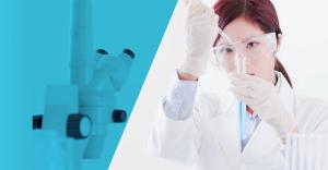 Image of woman working in a chemicals laboratory