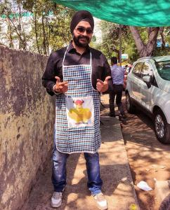 Pujneet Singh while shooting vlog for youtube channel Bhooka Saand