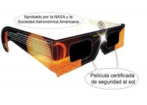 Gafas solar eclipse con rótulos de seguridad