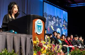 Baothy Huynh gives the 2019 Commencement address.