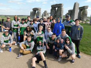 Members of PAC Misfits Rugby at Stonhenge with Irish Rugby Tours