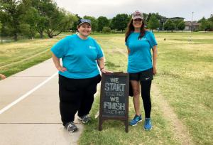 Marie Apodaca and Angela Marquez, prepare for the 3rd annual CO #LymphWalk at Sloan's Lake Park, Denver, CO.