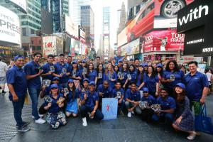 Team building activities done by Youth Delegates and Youth Ambassadors as they brought human rights to the streets in NYC's iconic Times Square.