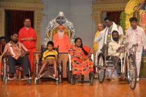 Sri Swamiji has donated tricycles and support vehicles to the communities of weaker sections