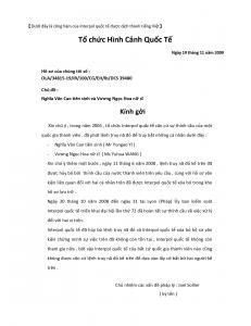 Hình hai: Bản dịch nguyên văn bức thư hàm do tổ chức Interpol quốc tế gửi