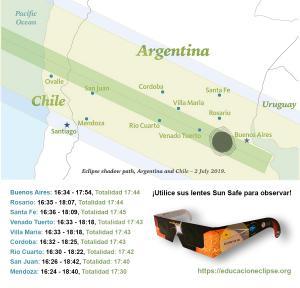 Mapa del Eclipse solar total de Argentina