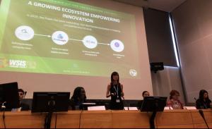 Rhiannon Payne speaking at WSIS 2019