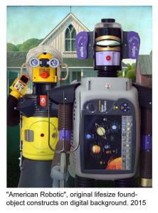 "Installation of artist-created life-size ""robots""."
