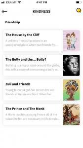 "A screenshot of the storied app inside a phone. The app has multiple stories under a headline that reads ""kindness"""