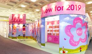Pink exhibition stand at Toy Fair
