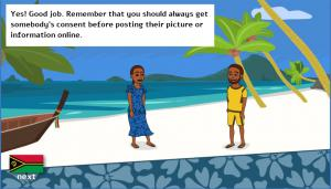 "A beach is in the background and in front are two video game characters smiling and looking at each other; a text box says ""Yes! Good job. Remember that you should always get somebody's consent before posting their picture or information online."""