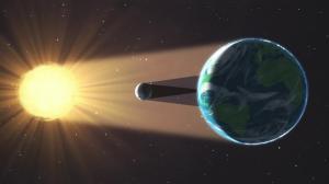 Diagrama de la Tierra, la Luna y el Sol durante el eclipse total