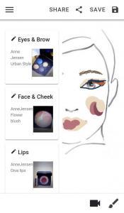 Face My Makeup app Face chart
