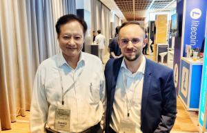 Dr. Ko-Yang Wang visiting with Jesse Johnson at ZB's booth