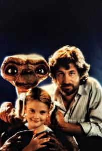 Photo of E.T. with director Steven Spielberg and actress Drew Barrymore