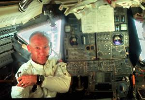 Unseen image of Buzz Aldrin in the Apollo 11 Lunar Module. Credit: NASA/Emil Petrinic