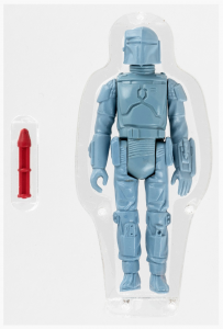 Rocket-firing Boba Fett prototype (L-slot) action figure, 3.75in., AFA 85 NM+ condition, Kenner, 1979. Sold for $112,926, the first Star Wars toy to sell for six figures. World auction record for any Star Wars toy. Image: Hake's Auctions