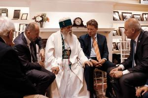 President Oancia and Greg Mitchell with His Holiness Hajji Dede Baba Edmond Brahimaj, leader of the Religious Order of the Bektashi