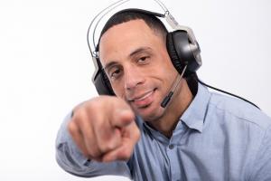 Dominic Barber wearing headset.