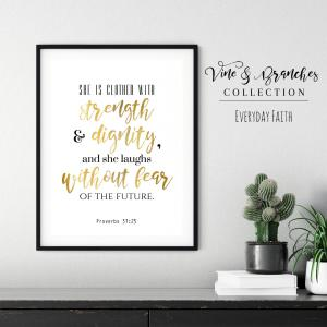 Proverbs 31 Bible Verse Scripture Printable Art in black and gold digital printable file introducing the Vine and Branches Collection.