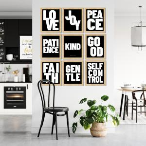 """Galatians 5 scripture art showing the nine """"fruit of the spirit"""" qualities of love, joy, peace, patience, kindness, goodness, faithfulness, gentleness, and self control."""