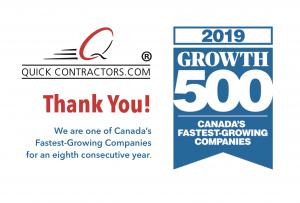 QuickContractors.com wins its eight consecutive Growth 500 award