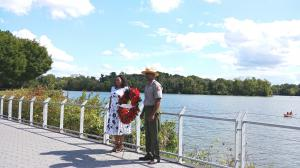 Wreath  laid at Georgetown site of first African slaves to arrive in area